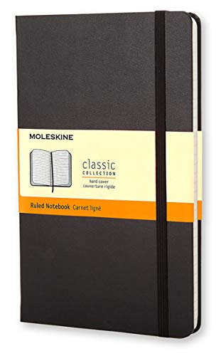 "Moleskine Classic Notebook, Hard Cover, Large (5"" x 8.25"") Ruled/Lined, Black, 240 Pages"