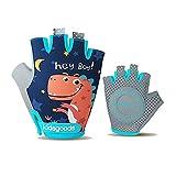 MiOYOOW 1 par de guantes de ciclismo para niños, guantes deportivos sin dedos, antideslizantes, transpirables, para ciclismo, camping, pesca, deportes al aire libre