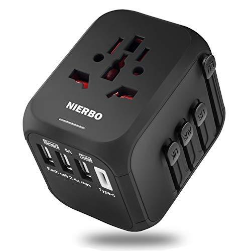 NIERBO Adaptador de Viaje, Adaptador de Corriente Universal con Fusible de restablecimiento automático, Adaptador de Enchufe eléctrico Todo en uno - Cargador de Viaje Mundial con 3 USB y 1 Tipo C