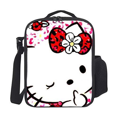 Red Hello Kitty Bolsa de almuerzo portátil de aislamiento t