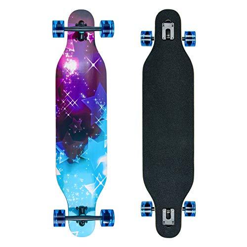 Longboard Skateboard Cruiser Komplettes Board mit ABEC-11 Lagern, acht Schichten Ahorn Longboard Jungen und Mädchen Brush Street Dance Board Anfänger Erwachsener Teenager… (xingkong)