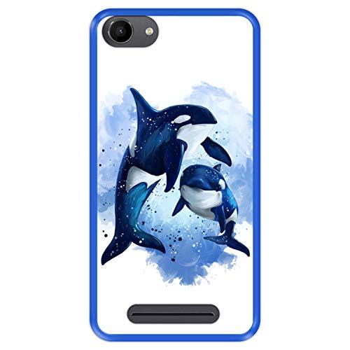 Hapdey silikon Hülle für [ Wiko Jerry - Lenny 3 - K-Kool ] Design [ Tierwelt, Ballenas ] Blau Flexibles TPU