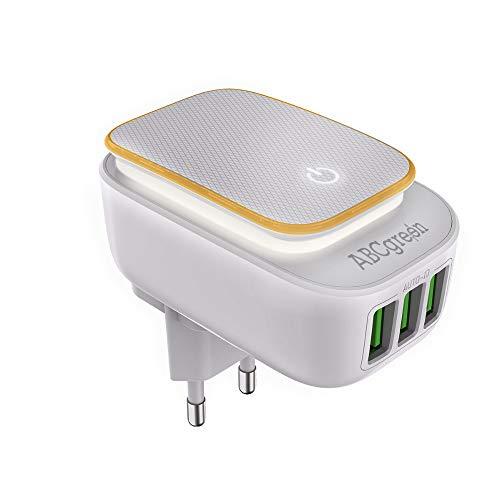 ABC GREEN - Caricatore USB Compatibile, Adattatore Presa USB con 3 Porte, Lampada Notturna per Bambini a LED con Presa elettrica Touch, Luce Notturna, Caricatore rapido da Parete Universale