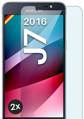 moex Panzerglas kompatibel mit Samsung Galaxy J7 (2016) - Schutzfolie aus Glas, bruchsichere Bildschirmschutz Folie, Crystal Clear Panzerglasfolie, 2X Stück
