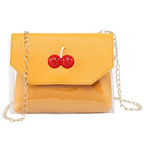 TUDUZ Bolsa Mujer Bandolera Individual De Hombro Pequeña Bolsa Cuadrada Monedero Paquete De Gelatina (Amarillo)