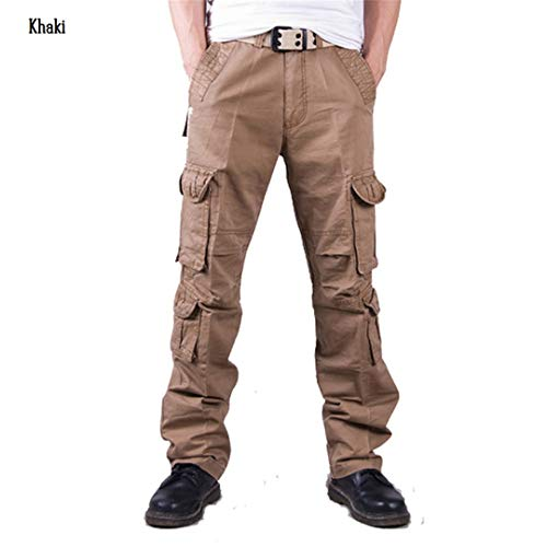 Men Casual Tactical Camouflage Cargo Pants Camo Pattern Army Combat Pants Cotton Work Pockets Military Trousers Khaki 32