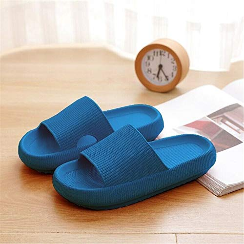 Cozy Unisex Shower Sandals with Thick Sole, Super Soft Home Slippers Thick Bottom Shock Absorption Slippers Non-Slip Beach Pool Slides, Open Toe Style Outdoor Slippers for Men and Women (Blue,37-38)
