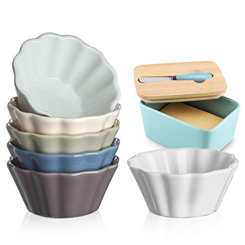DOWAN 6 Oz Porcelain Ramekins, Serving Bowls for Souffle, Creme Brulee, Flower Shape Ramekins for Baking, Set of 6, Colorful