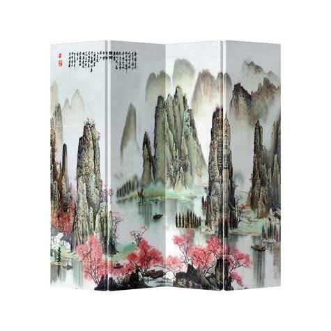 Fine Asianliving Paravent Raumteiler Trennwand Spanische Wand Raumtrenner Sichtschutz Japanisch Orientalisch Chinesisch L160xH180cm Bedruckte Canvas Leinwand Doppelseitig Asiatisch -203-137
