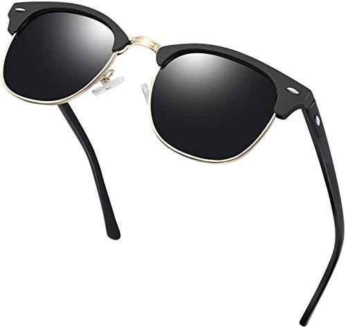 Klasische Polarisierte Sonnenbrille Herren Retro Runde Sonnen Brillle Anti-ReflexUV400 Schwarz