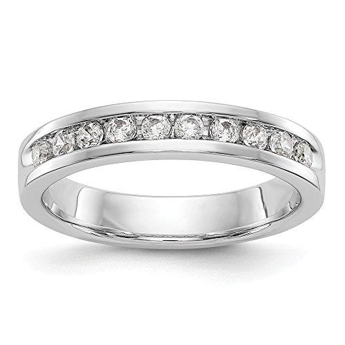 Anillo de boda de oro blanco de 14 quilates con 10 piedras de diamante cultivado en laboratorio SI1/SI2, canal G-H
