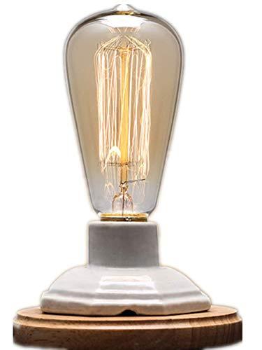 YUENSLIGHTING Lámparas de mesa de madera de la base de la cerámica de la vendimia blanca con...