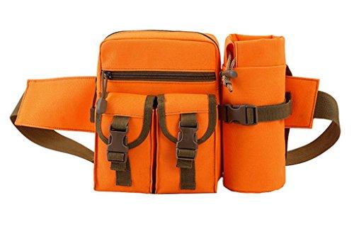 Bigood Sac Banane de Plein Air Pochette Sport Loisir Ceinture Multifonction Rangement Bouteille Orange