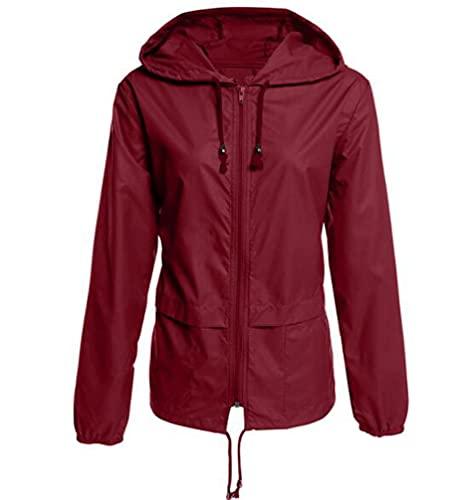 Huixin Chaqueta con Capucha para Mujer Outdoor Jacket Impermeable Lluvia Fino Chaquetas Ligeros Primavera Abrigos para Wandern Camping Viajes Montañismo (Rojo,M)