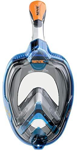 SEAC Magica, máscara antiembaçante de rosto inteiro com saia facial macia em 2 tamanhos, válvula de exalação e parte superior de snorkel seco, azul/laranja, grande/GG