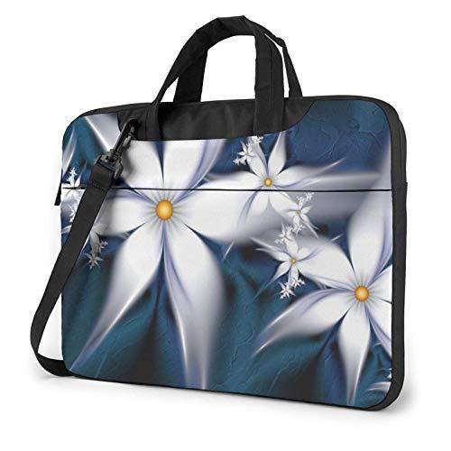 Artistic Daisy Floral Laptop Bag Messenger Bag Briefcase Satchel Shoulder Crossbody Sling Working Bag 14 Inch