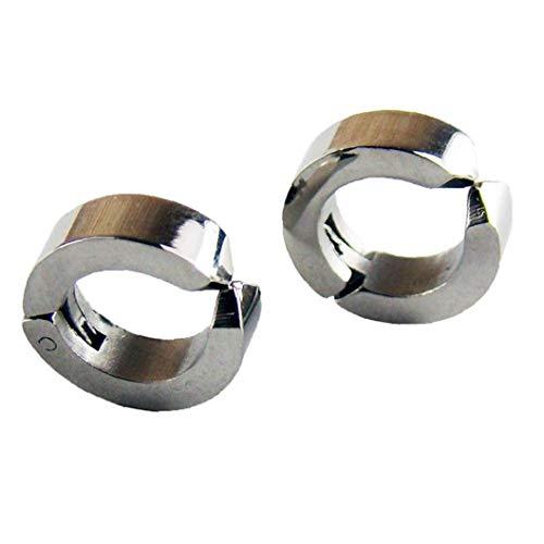 Naicasy 2 PCS Fashion Men Women Titanium Steel Round Small Non-Pierced Ear Cuff Clip Jewelry 1 Pair