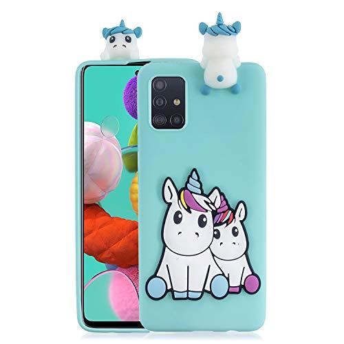 HopMore kompatibel mit Samsung Galaxy A71 Handyhülle Weich Silikon 3D Muster Kawaii Tier Hüllen Dünn Slim Case Stoßfest Samsung A71 Hülle Schutzhülle Cover - Grünes Einhorn