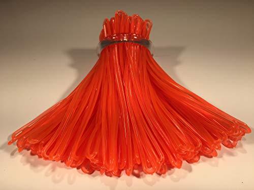 Neon Orange Plastic Luggage Tag Loops, 6 inch, 100/pk (aka Worm Loop)
