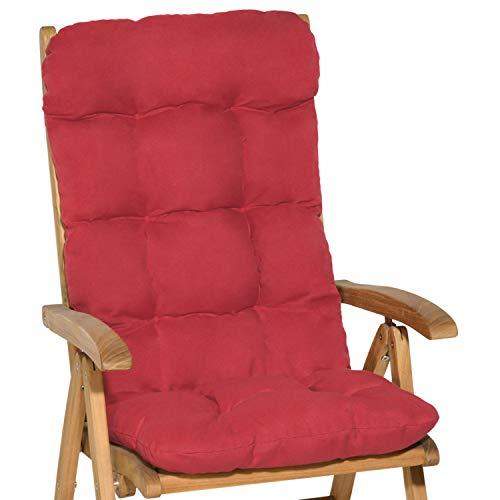 Beautissu Cuscino per Sedia a Sdraio Flair HL 120x50x8cm Extra Comfort per sedie reclinabili, spiaggine e poltrone - Rosso