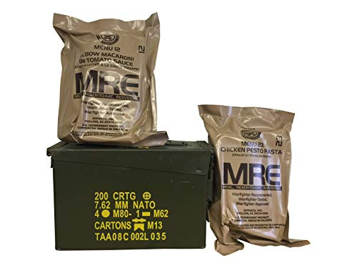 Ozark Outdoorz Military 2021 Inspection Date MREs (Meals-Ready-To-Eat) Pick a Can - Pick a Flavor-2021 Inspection Date MREs in Complementary Used Ammo Can (All Meat, Grade 1 30 Cal Ammo Can)