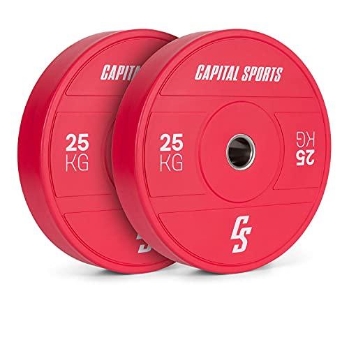 Capital Sports Nipton 2021 Bumper Plate - Dischi per Bilanciere, Anello Interno in Acciaio, Apertura di Attacco 50,4 mm, Gomma Dura, 2 x 25 kg, Rosso