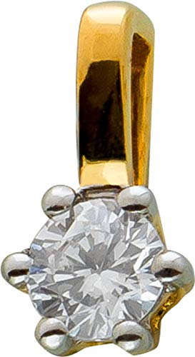 Ch.Abramowicz Solitär Diamant Anhänger Gelb Gold 585 1 Brillant 0,10ct W/SI 8x4mm