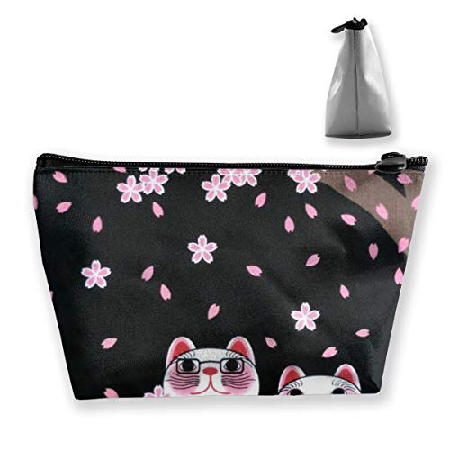 Cat under the cherry blossom tree Cosmetic Bag for Women Multifuncition Travel Makeup Bags for Toiletries Accessories Organizer with Zipper