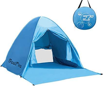 BestFire Tenda da Spiaggia Parasole Spiaggia POP UP per 2-3 Posti Protezione UV Apertura Istantanea Leggero da Portare per Spiaggia Giardino Palco
