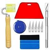 Kit completo de herramientas de papel pintado Ewrap con rasqueta roja, rodillo de mano, cinta métrica ideal para envoltura de vinilo de coche, papel pintado, instalación de película para ventana