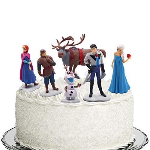 ELSANI Frozen Cake Topper Collectible Model Elsa Snow Princess 6 Piece Action Figure Set
