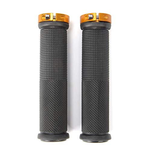 1 Pair Bicycle Handlebar Cover Grips Rubber Soft Anti-Skid Cycling Bike Grips MTB Mountain Road Bike Lock on Handle End Grips Bike Handlebars (Color : Gold)