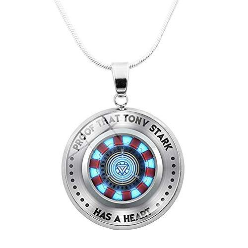 Superhero Marvel Iron Man Tony Stark Arc Reactor Necklace Glass Cabochon Pendant The Avengers Jewelry Pendant Necklace Men Boy