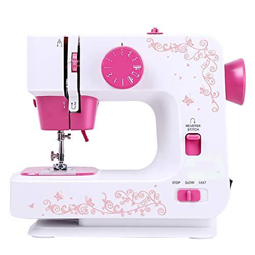 ZJZ compacte naaimachine, mini-reisnooimachine, elektrische naaimachine, LED, 12 steken, overlock, huishouden, naaigereedschap, 2 snelheden met voetpedaal
