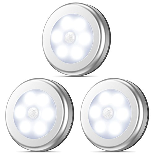AMIR Upgraded Motion Sensor Light, Stick-Anywhere Cordless Battery-Powered LED Night Light, Closet Lights, Stair Lights, Safe Lights for Hallway, Bathroom, Bedroom, Kitchen (White - Pack of 3)