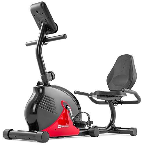 Hop-Sport Liegeergometer 030L Rapid - Liegeheimtrainer mit Handpulssensoren, Trainingscomputer, 8 Widerstandsstufen - kompakter Sitzergometer für das Ganzkörpertraining zu Hause rot