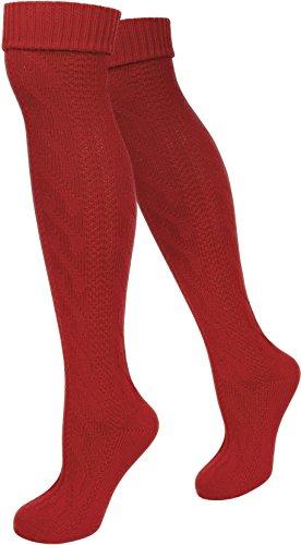 normani 2 Paar Trachtensocken Kniebundhosenstrümpfe Extraland - für Damen und Herren - Oktoberfest Outfit - Loferl Overknee Überknie Farbe Rot Größe 43/46