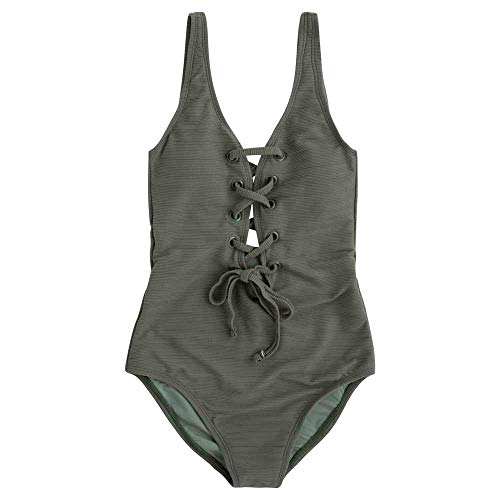 Pepe Jeans Damen Della Swimsuit Einteiler, Grün (Dark Olive 768), 135 (Herstellergröße: Small)
