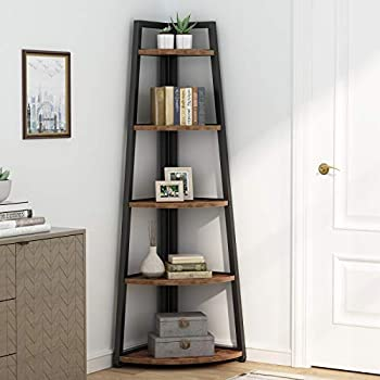 Rustic 5 tier 70 Inch Tall corner Shelf Bookshelf Industrial Small Bookcase Corner Shelf Stand Furniture Plant Stand for Living Room Small Space Kitchen Home Office  Rustic Brown