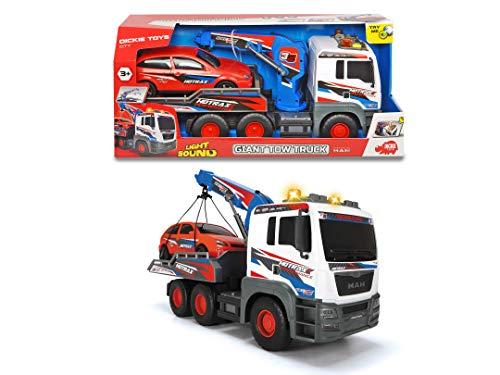 Dickie Toys MAN Abschleppwagen, großer Abschlepptruck inkl. Auto, motor. Kranarm, Licht & Sound, inkl. Batterien, 55 cm groß, für Kinder ab 3 Jahren