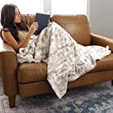 GRACED SOFT LUXURIES Softest Warm Elegant Cozy Faux Fur Home Throw Blanket (Marbled Ivory, Large 50' x 60')