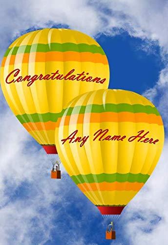 Hot Air Balloon fht13 Gefeliciteerd A5 Gepersonaliseerde Wenskaart Geplaatst door US Gifts for All 2016 van Derbyshire UK