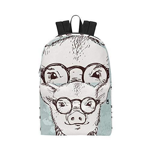 Karikatur Rosa Schwein Abnutzungs Brille Klassische Nette wasserdichte Laptop Daypack Taschen Schule Kausale Rucksäcke Rucksäcke Bookbag für Kinder, Frauen und Männer Reisen mit Reißverschluss