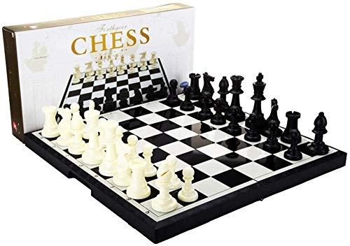 Ajedrez Juego de ajedrez Juguetes de ajedrez-Ajedrez Blanco Negro con ajedrez magnético plástico para niños/niños, Adultos (Color : Black, Size : 37x37x4cm)