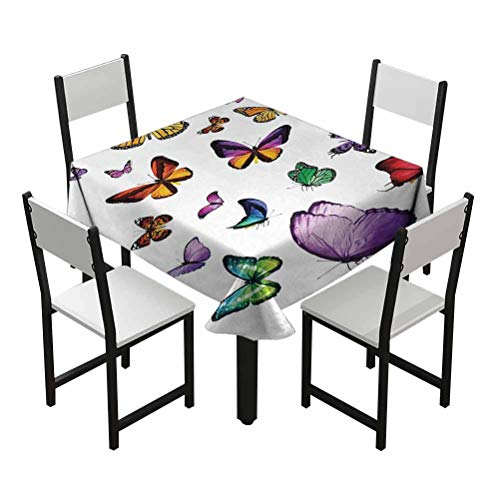 nooweihome Butterfly Plaid Tablecloth Collection of Different Colored Flying Butterflies Independent Spirit Animal Best Gifts Under 30 W50 xL50 Multicolor
