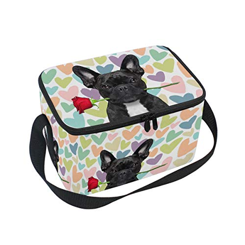 ZZAEO Cute Funny French Bulldog Rose Love Large Lunch Box Tote Bag with Shoulder Strap Reusable Insulated Thermal Lunch Cooler Bag Meal Prep Handbag for Boys&Girls