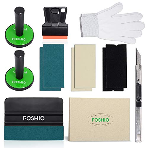 FOSHIO Car Wrap Application Kit Include 4 Inch Automotive Scraper, Wool Squeegee, Vinyl Wrap Lockable Cutters, Tint Magnet Holders, 3 Kinds of Squeegee Felts, Gloves, Mini Plastic Scraper