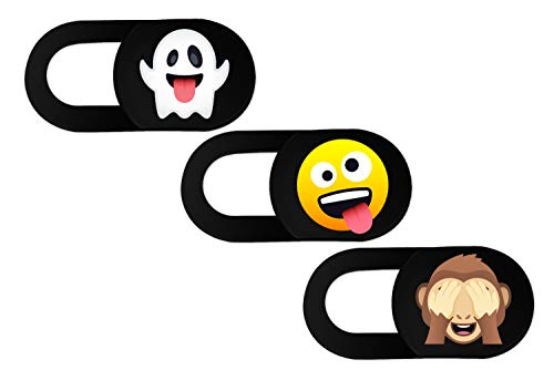 Webcam Cover Slider 3Pack with Emoji Design. 0,8 mm Ultra Thin Camera Cover, Web Camera Cover for Laptop, Tablets, Smartphone, iMac, iPhone, Notebook (Black_Set nr 1)