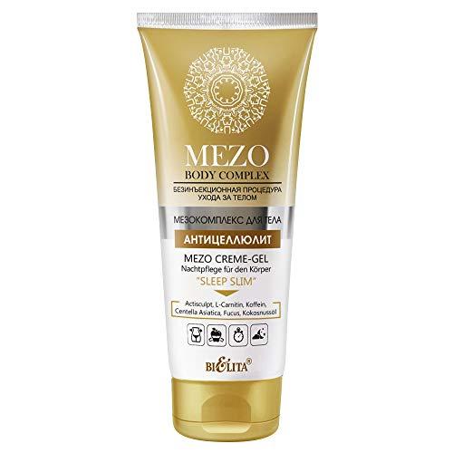 Belita MEZO Body Complex MEZO Anti-Cellulite Creme-Gel SLEEP SLIM Nachtpflege für den Körper 200ml, mit Centella Asiatica, Koffein, Kokosnussöl, L-Carnitin, Fucus und Actisculpt Komplex