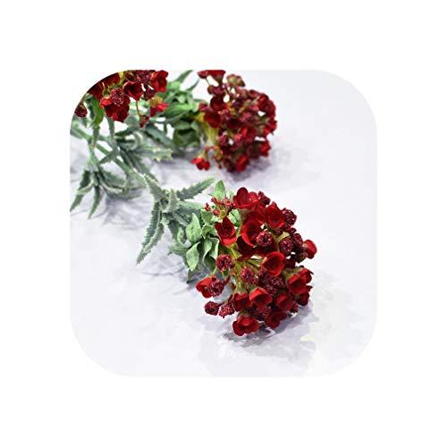 Kunstbloem Donker Rood 3 Hoofd Sneeuwbal Simulatie Plant Groene Plant Thuis Bruiloft Decoratie Potted Bloem Arrangement Bloem, Rood 78Cm OneSize Rood78cm